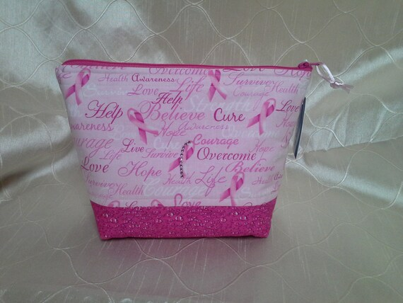 Breast Cancer Awareness Essential Oil Bottle Zippered Pouch