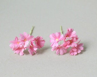 27 mm /  10   pink  cosmos   paper  flowers