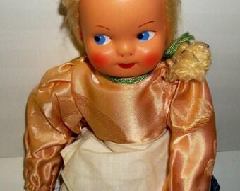 Vintage Polish doll, 14 inch celluloid face, cloth doll.