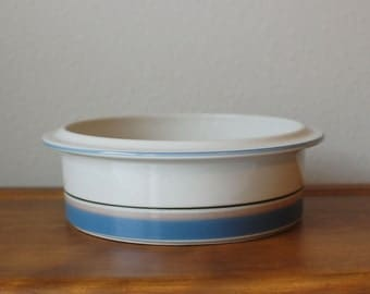 "UHTUA 9"" Serving Bowl ARABIA Of Finland Blue Tan Band Ceramic"