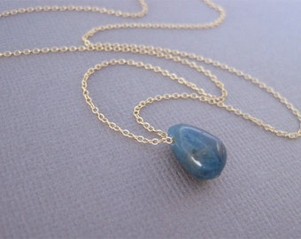 Apatite Bead Gold Fill Necklace, Blue Bead Necklace, Gold Necklace, Gold Apatite Necklace, Gemstone Necklace