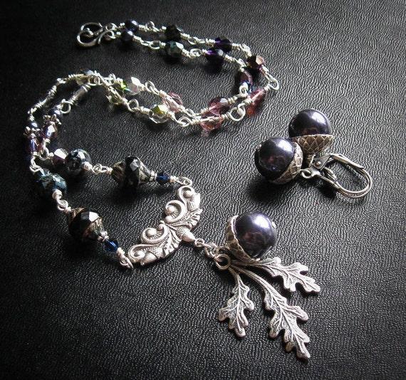 Oak King's Bride in Winter. Necklace and Earring Set