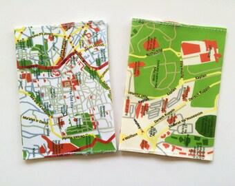 Jerusalem map passport cover - a souvenir from Israel - a gift for travelers - cotton passport holder - Holy land souvenir
