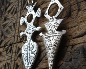 2x large Moroccan Tuareg cross hand engraved pendants with zig zags