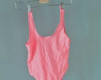 SALE Neon Pink One Piece Swimsuit Vintage 90's