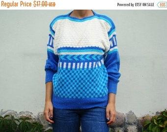 SALE Vintage 80's Blue  Geometrical  Sweater Knit Blouse