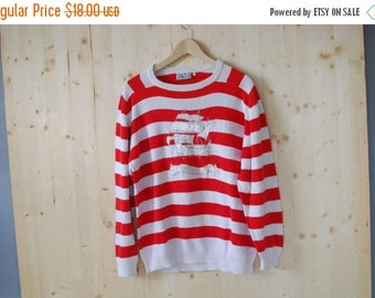 SALE Striped Nautical Sweater VINTAGE 80's red white sweater with boat applique