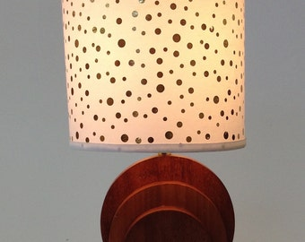 Small Vintage Wooden Lamp with White Shade with Gold Foil Dots