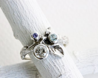 Gem Cluster,Aquamarine, White Topaz  and Tanzanite Silver Leaf Twig Ring,Leaf Fine Jewelry