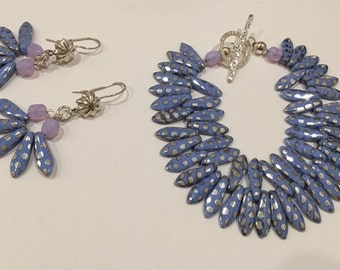 Periwinkle Dagger Bracelet and Earrings of Czech Peacock Glass Gifts for Her