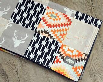 Aztec Patchwork Blanket - Navy and Grey Baby Blanket - SALE!