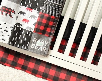 Baby Bear Woodlands Crib Bedding, Red Plaid Crib Skirt, Black Fitted Sheet, Trees, Lumberjack Baby Bedding, Nursery Bedding Set