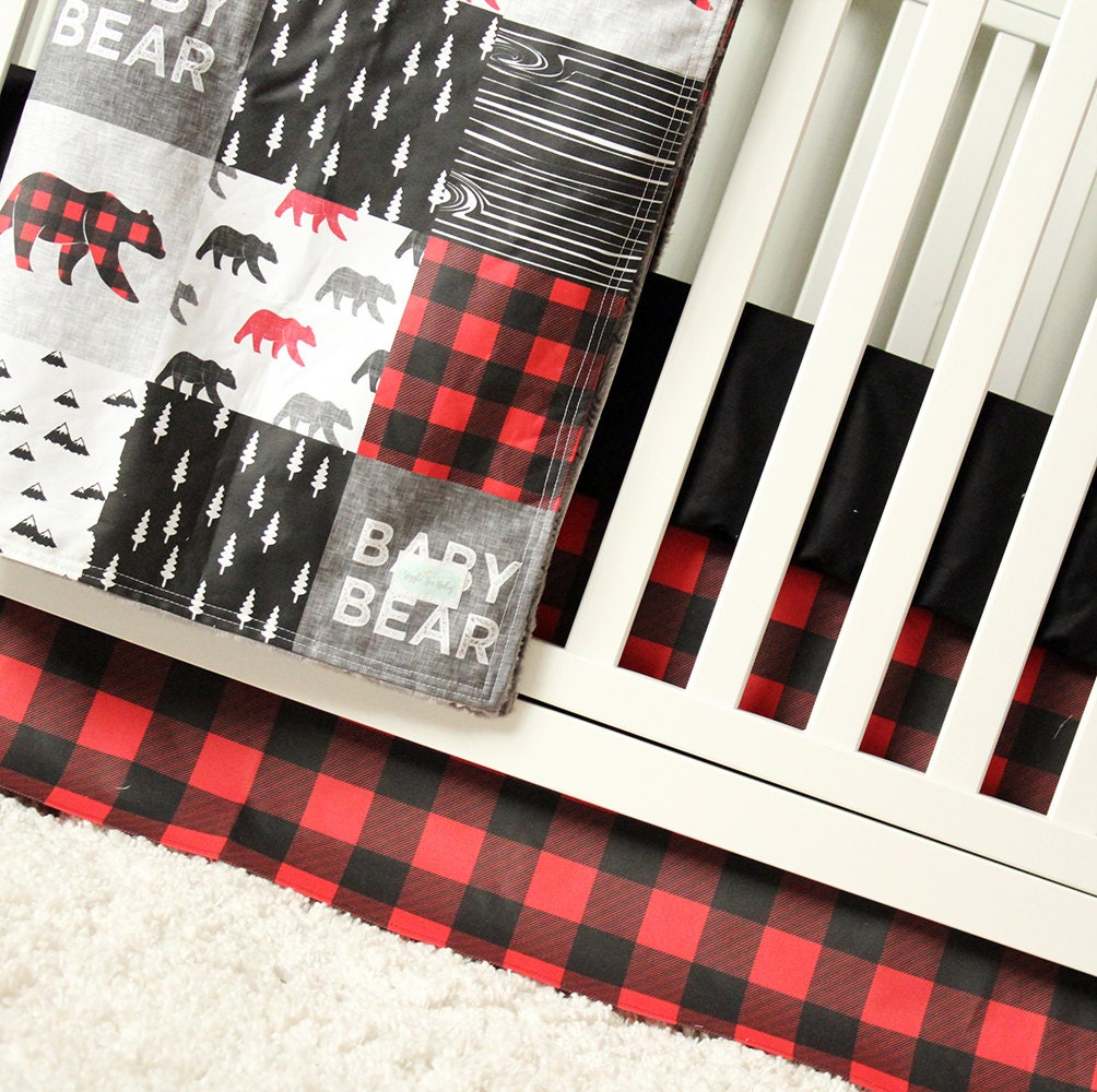 Baby Bear Woodlands Crib Bedding Red Plaid Crib Skirt Black
