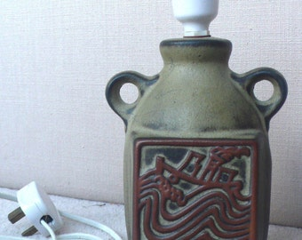 Tremar pottery lamp Cornwall nautical 1980s studio