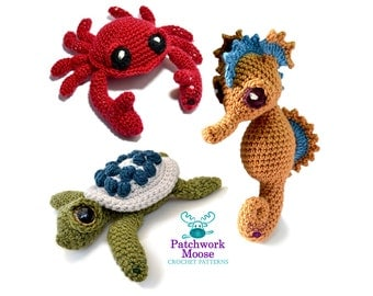 Sea Creatures Crochet Pattern Bundle for Seahorse, Turtle and Crab Pattern PDF's