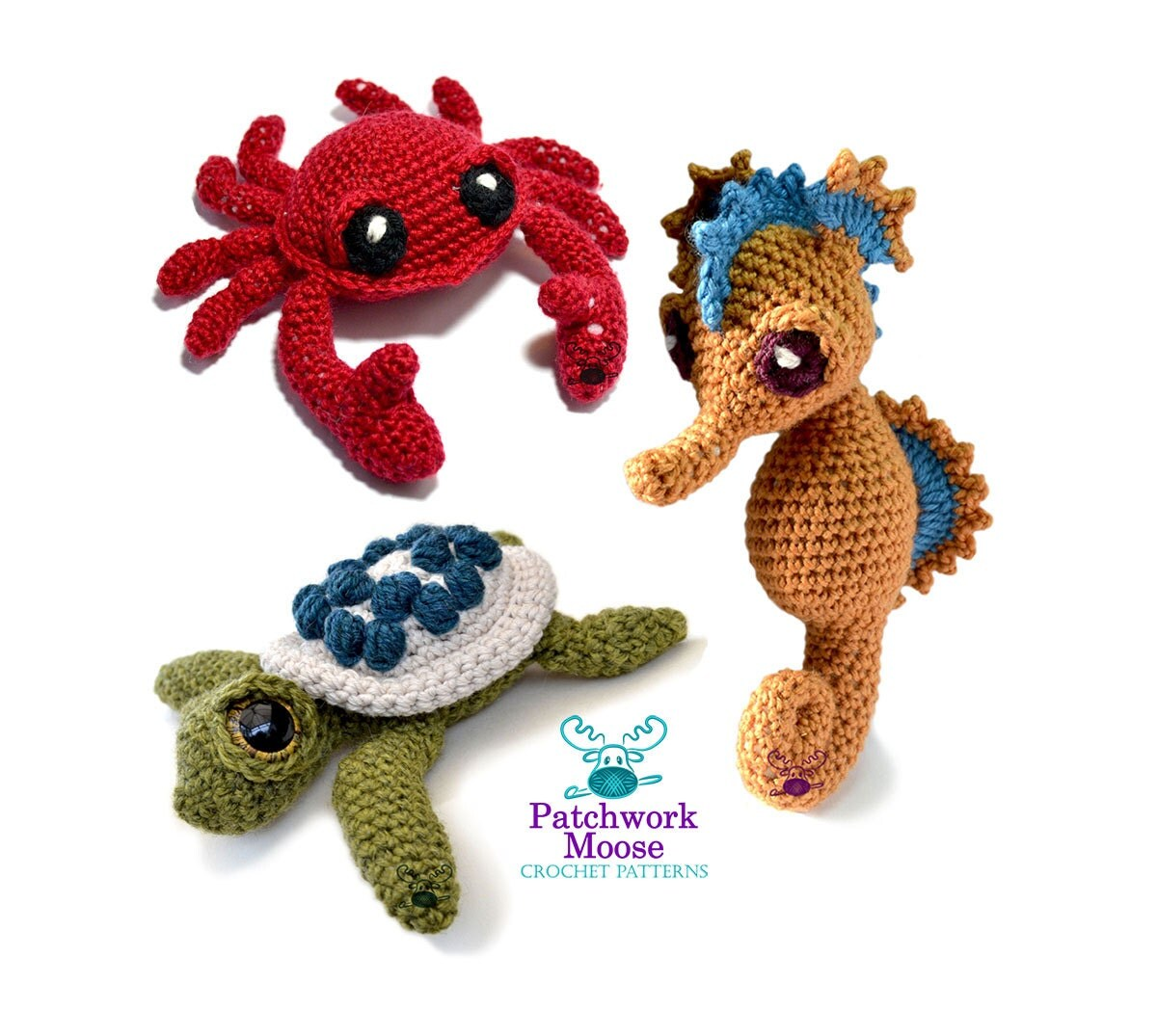 Sea creatures crochet pattern bundle for seahorse turtle and crab this is a digital file bankloansurffo Image collections