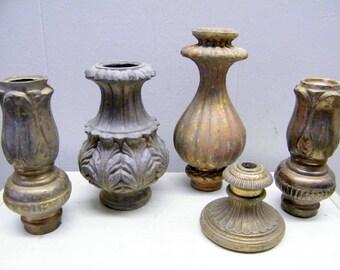 Vintage Lamp Spacer Column Parts / Lamp Repair Restoration / Repurpose/ 5 Pieces Old Lamp Parts