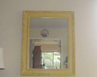 Vintage Shabby Chic Large Framed Wall Mirror - Farmhouse Grungy Carved Wood - Distressed Golden Yellow Over Gilt - ReCycled Mirror