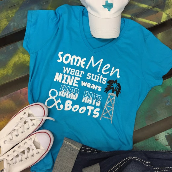 Roughneck Oilfield WIFE GIRLFRIEND V-neck T-shirt...Some men wear suits, mine wears hard hats & boots