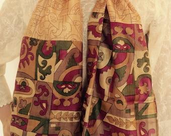 Beige gold printed  pure  silk stole/scarf/silk shawl/silk dress wrap/ silk head wrap/duppatta