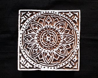 Square Indian block printing stamps/textile pottery stamp/tjap/Indian hand carved  wooden block for printing/ paper /fabric printing stamp