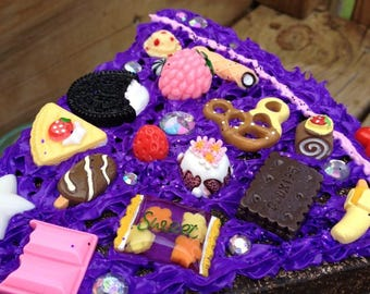 Chocolate dummy cake slice decoden sculpture fake cake display purple icing