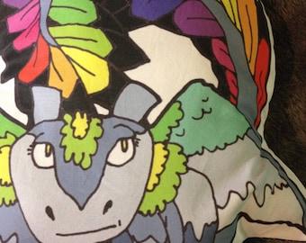 Peaches the rainbow dragon pillow Know Your Dragons dragon pixel low poly dragon original art pillow pal