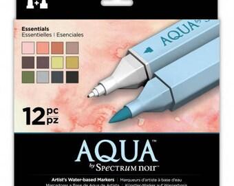 Spectrum Noir Aqua Markers - Artist Dual Tipped Watercolor Markers - 12 ESSENTIALS - Soft Brush Tip & Fine Point