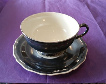 Johann Haviland Bavaria Cup and Saucer, Gray, Grey, Black, White, Charcoal Teacup and Saucer