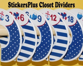 6 Baby Closet Dividers Organizers Assembled or DIY PreCut Navy Blue Red Anchor Whale Nautical Boy Baby Shower Nursery Gift Clothes Organizer