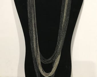 Vintage Pewter and Silver Multi Chain Necklace