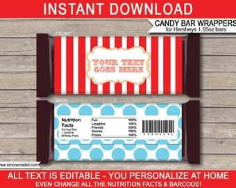 Circus Theme Party - Candy Bar Wrappers - Party Favors - Carnival Chocolate Labels - INSTANT DOWNLOAD with EDITABLE text - you personalize