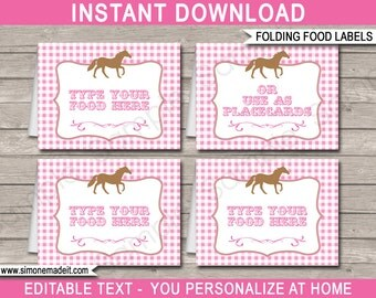 Horse Food Labels - Pony or Horse Theme Party - Placecards - Buffet Tags - Printable Party Decorations - INSTANT DOWNLOAD with EDITABLE text