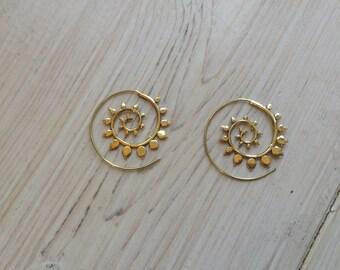 Indian tribal style brass/silver earrings