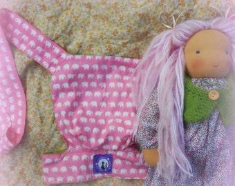 handmade reversible waldorf doll/ baby doll / teddy sling carrier (pink elephants and spring green)