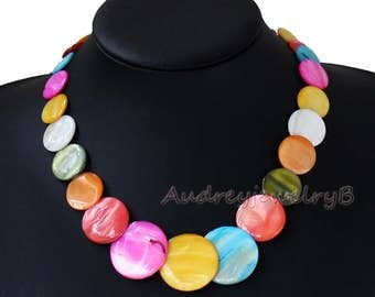 SALL Handmade Natural Shelll necklace,Mother of Pearl Shelll necklace bib necklace