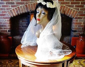 Vintage Wedding Veil, Wedding  Inspiration, Vintage Bridal Veil, Lovely Vintage Face Cover Wedding Veil and Headdress, 1960s