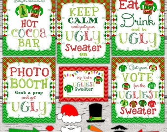 Ugly Christmas Sweater Party Signs. Ugly Christmas Sweater Photo Props. Ugly Christmas Sweater voting cards. Christmas Party decorations