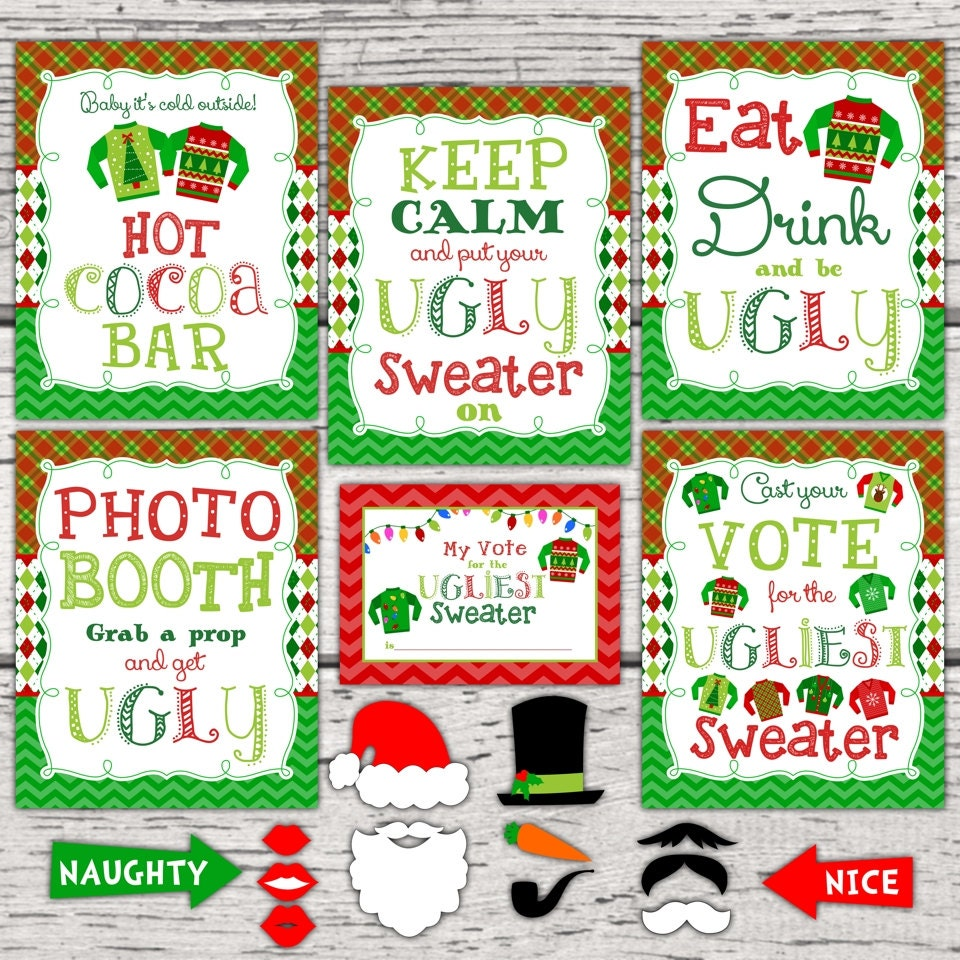 Christmas Jumper Party: Ugly Christmas Sweater Party Signs. Ugly Christmas Sweater