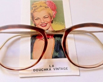 French Amor 1940s Woman Eyeglasses - Glamorious Tortoise & Gold Frame - MADE IN FRANCE - Mint