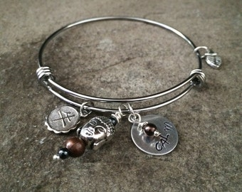 Calm - Adjustable Bangle Bracelet - Shiny Stainless Steel - 1 SIZE FITS ALL - Hand Stamped - Tibetan Buddha Head - Yoga Jewelry - mSs