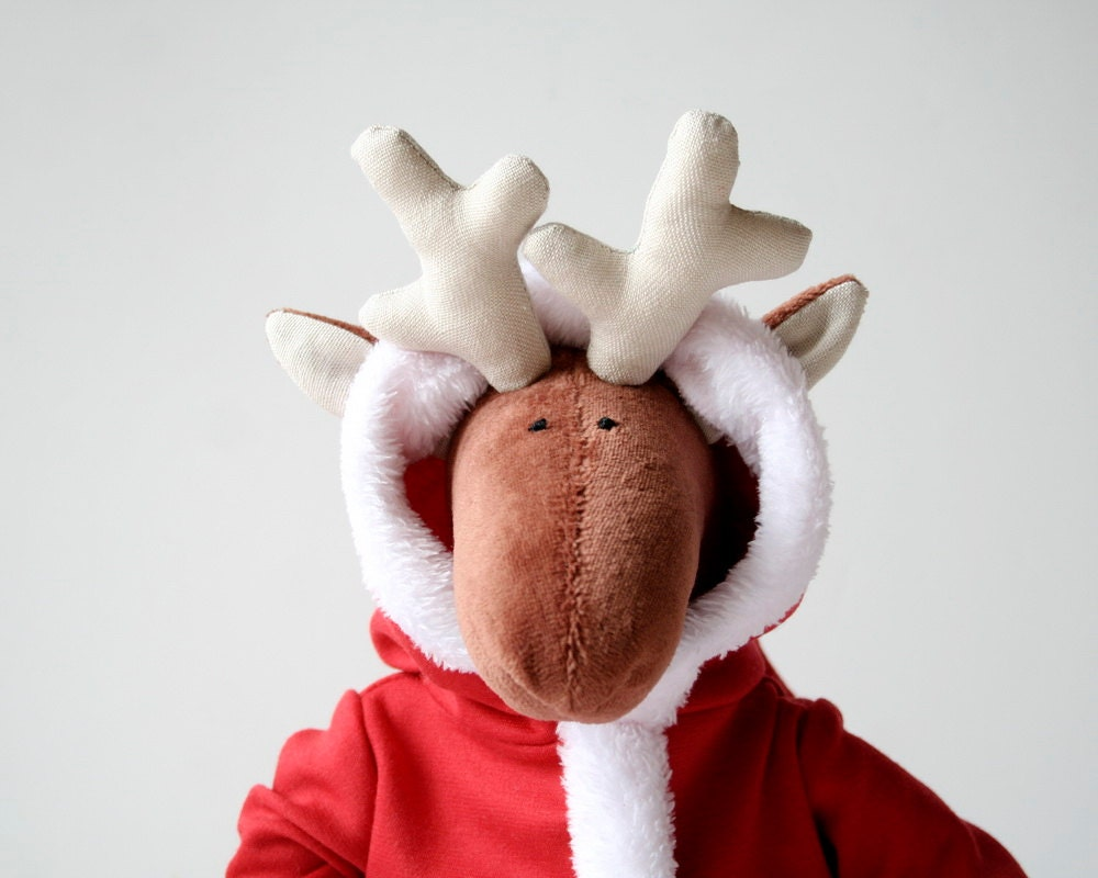 Santa Reindeer, Christmas Gift, Stuffed animal for kids, Plush Toy in Red Robe, Sleeping Plushie for Children, Baby Plush