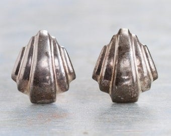 Sterling Silver Clip On Earrings - Art Deco 80s Fashion