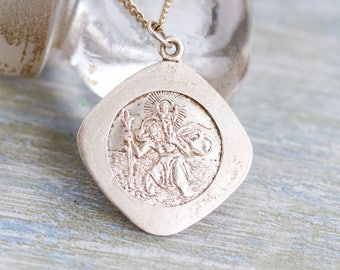 St Christopher Medallion Necklace - Silver Toned - Religious Icon