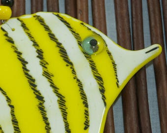 yellow fish fused Glass Ornament