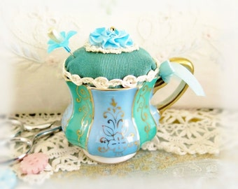 Demitasse Tea Cup Pincushion, Mothers Day Gift, Small Vintage Teacup Wales China Green Blue Handcrafted CharlotteStyle Needlecraft