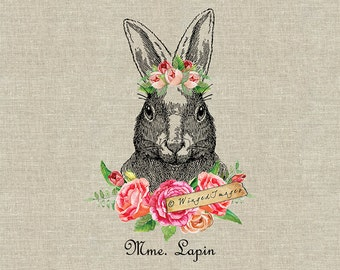 Mme. Lapin. Instant Download Digital Image No.401 Iron-On Transfer to Fabric (burlap, linen) Paper Prints (cards, tags)