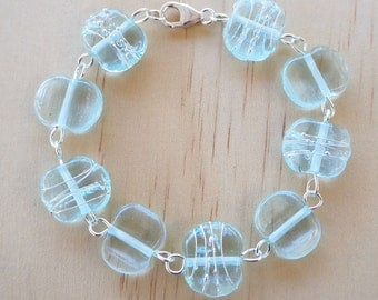 Recycled Glass Bead Bracelet.  Glass Beads made from a wine bottle.