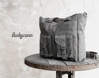 20% Valentine Sale BAILEY // Dark Grey / Lined with Dark Grey / 021 // Ship in 3 days // Messenger / Diaper bag / Shoulder bag / Tote bag /