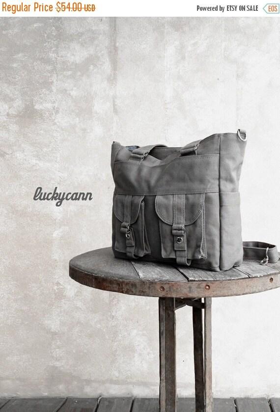 20% Valentine Sale BAILEY // Dark Grey / Lined with Dark Grey / 021 // Ship in 3 days // Messenger / Diaper bag / Shoulder bag / Tote bag /